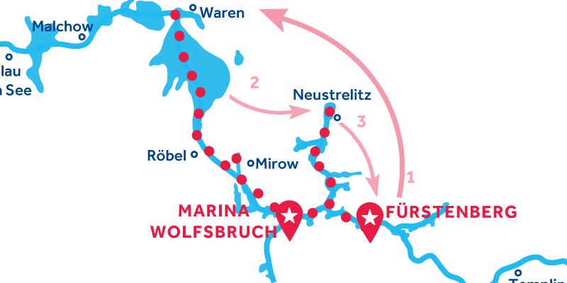 Fürstenberg HEEN EN TERUG via Waren & Neustrelitz