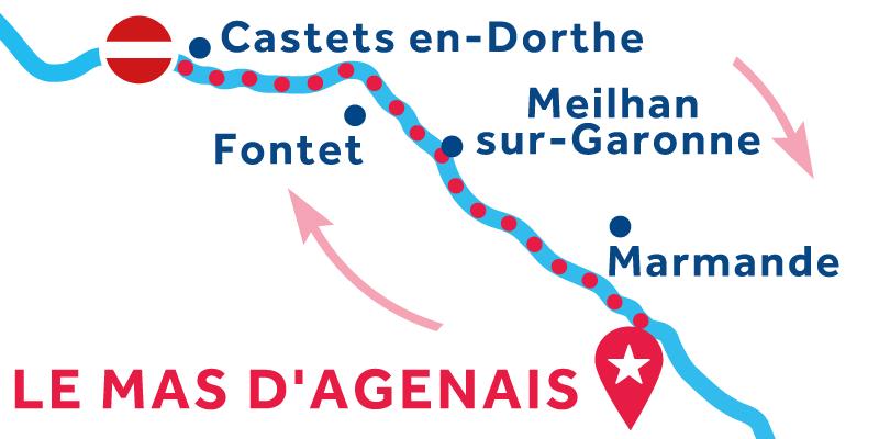 Le Mas-d'Agenais HEEN EN TERUG via Buzet-sur-Baïse