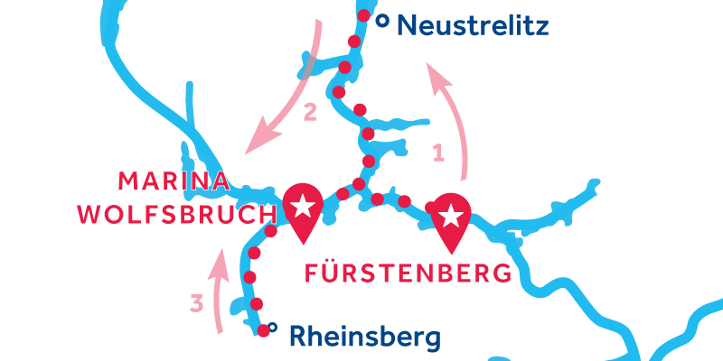 Fürstenberg HEEN EN TERUG via Neustrelitz & Rheinsberg