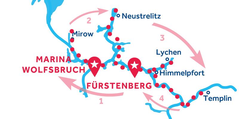 Fürstenberg HEEN EN TERUG via Mirow, Neustrelitz & Templin
