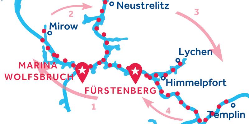 Fürstenberg HEEN EN TERUG via Waren, Neustrelitz & Templin