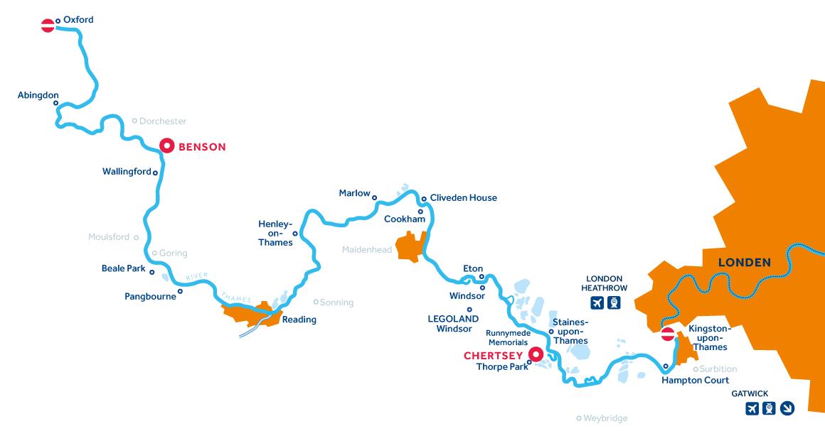 Kaart van de vaarregio: Rivier de Theems