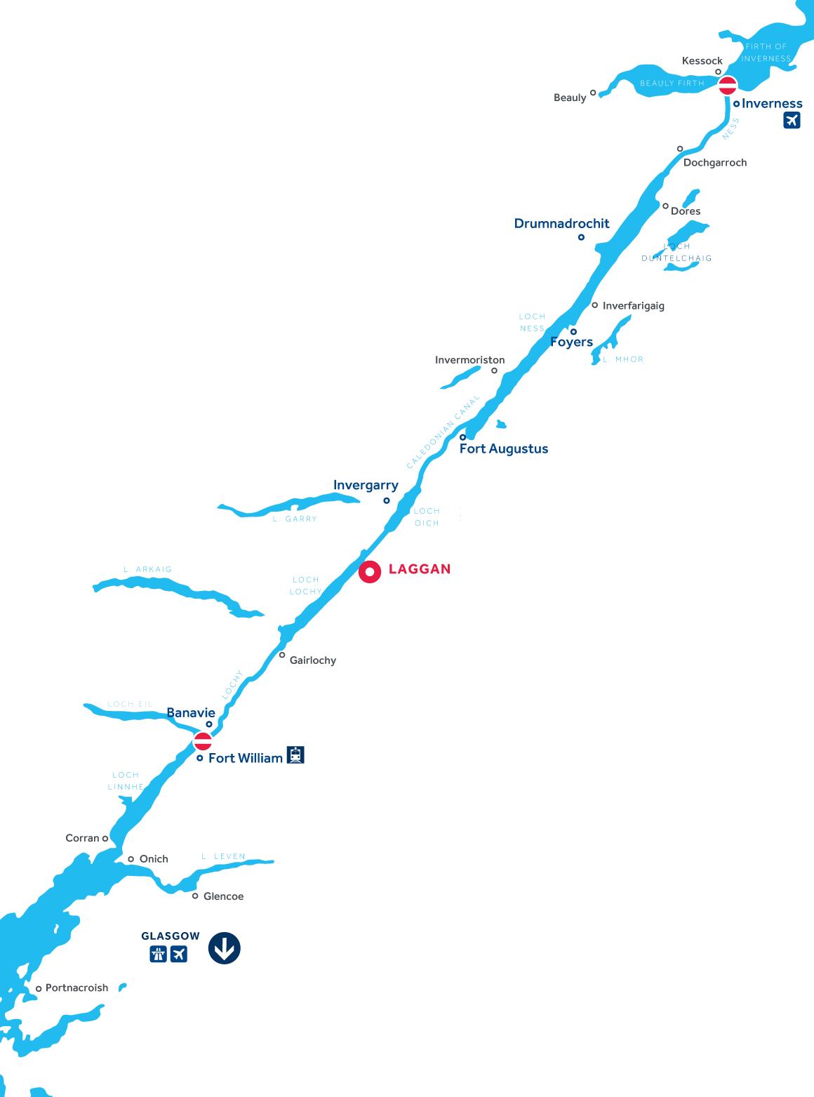 Kaart van de vaarregio: Caledonisch Kanaal