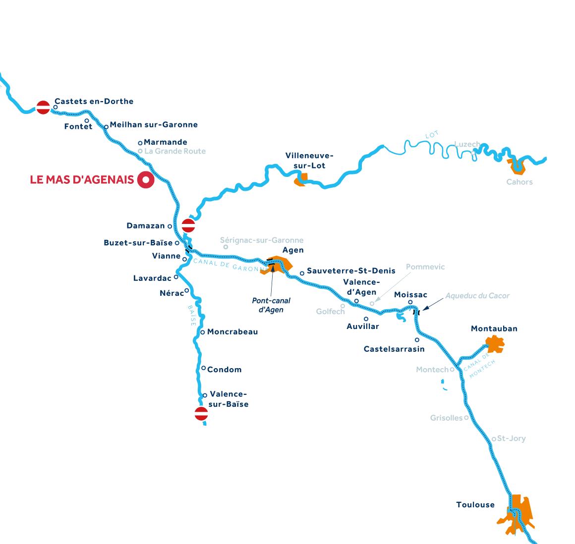 Kaart van de vaarregio: Aquitanië