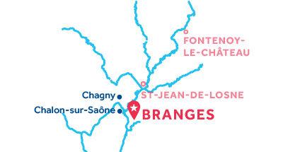 Kaart van de basis in Branges