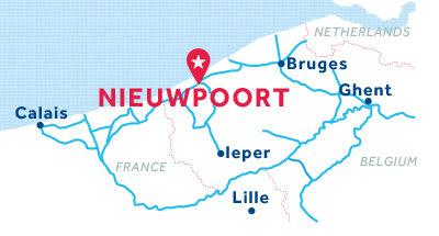 Kaart van de basis in Nieuwpoort