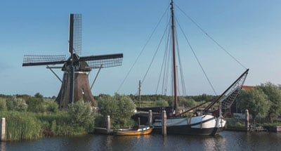 Windmill and traditional Dutch barge