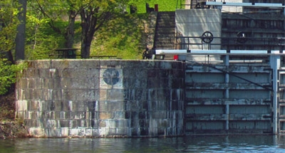 Cut-off shot of Jones Falls on the Rideau Canal