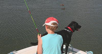 Vissen met de hond