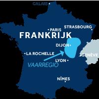 Kaart met vaargebied Bourgondië Franche-Comté in Frankrijk