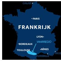 De kaart laat zien waar vaargebied Canal du Midi ligt in Frankrijk