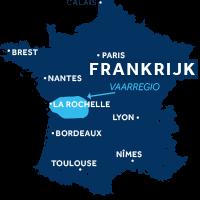 De kaart laat zien waar Charente zich in Frankrijk bevindt