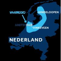 De  kaart laat zien waar de vaarregio's Friesland & Holland zich in Nederland bevinden