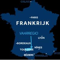 De kaart laat zien waar vaargebied De Lot ligt in Frankrijk
